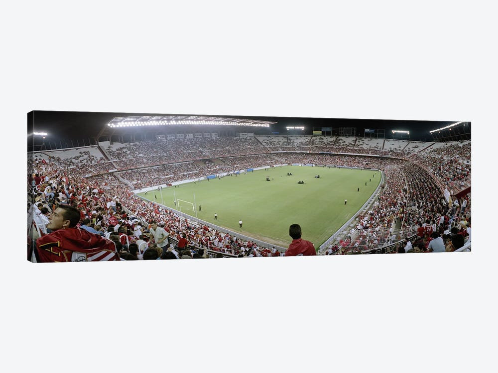 Crowd in a stadium, Sevilla FC, Estadio Ramon Sanchez Pizjuan, Seville, Seville Province, Andalusia, Spain by Panoramic Images 1-piece Canvas Wall Art