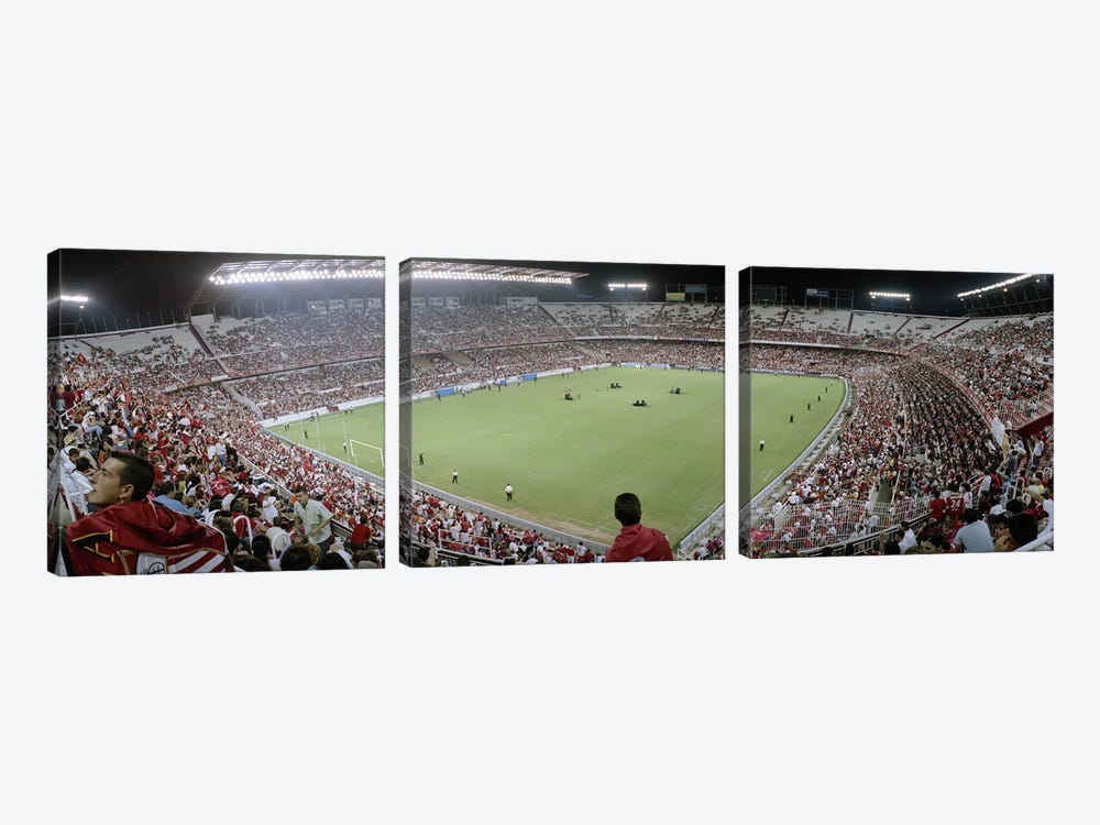 Crowd in a stadium, Sevilla FC, Estadio Ramon Sanchez Pizjuan, Seville, Seville Province, Andalusia, Spain by Panoramic Images 3-piece Canvas Wall Art