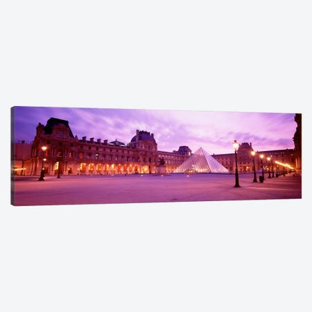 Napolean Courtyard At Dusk, Palais du Louvre, Paris, Ile-de-France, France Canvas Print #PIM639} by Panoramic Images Art Print