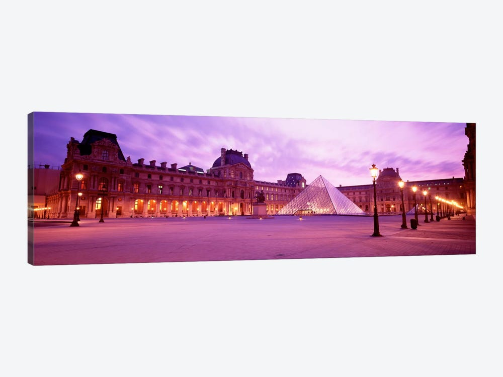 Napolean Courtyard At Dusk, Palais du Louvre, Paris, Ile-de-France, France by Panoramic Images 1-piece Canvas Art