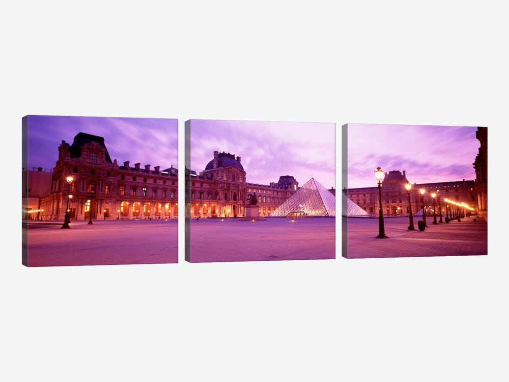 Napolean Courtyard At Dusk, Palais du Louvre, Paris, Ile-de-France, France by Panoramic Images 3-piece Canvas Art