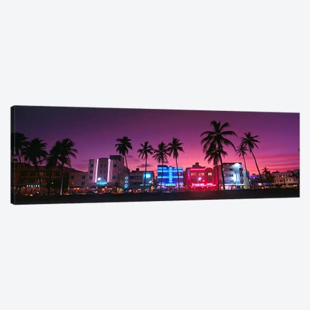 Hotels Illuminated At NightSouth Beach Miami, Florida, USA Canvas Print #PIM63} by Panoramic Images Canvas Art