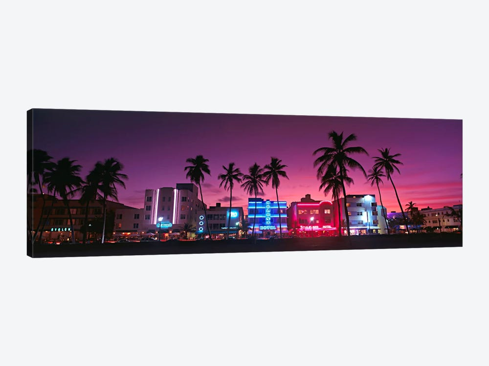 Hotels Illuminated At NightSouth Beach Miami, Florida, USA by Panoramic Images 1-piece Canvas Print