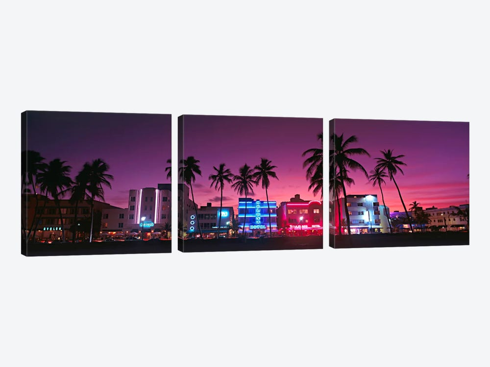 Hotels Illuminated At NightSouth Beach Miami, Florida, USA by Panoramic Images 3-piece Art Print