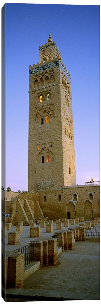 Low angle view of a minaret, Koutoubia Mosque, Marrakech, Morocco Canvas Art Print