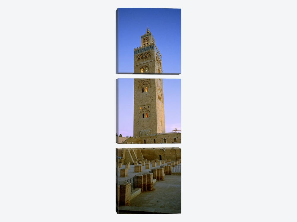 Low angle view of a minaret, Koutoubia Mosque, Marrakech, Morocco by Panoramic Images 3-piece Canvas Print