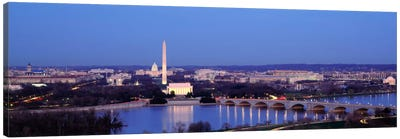 Bridge Over A RiverWashington Monument, Washington DC, District of Columbia, USA Canvas Art Print