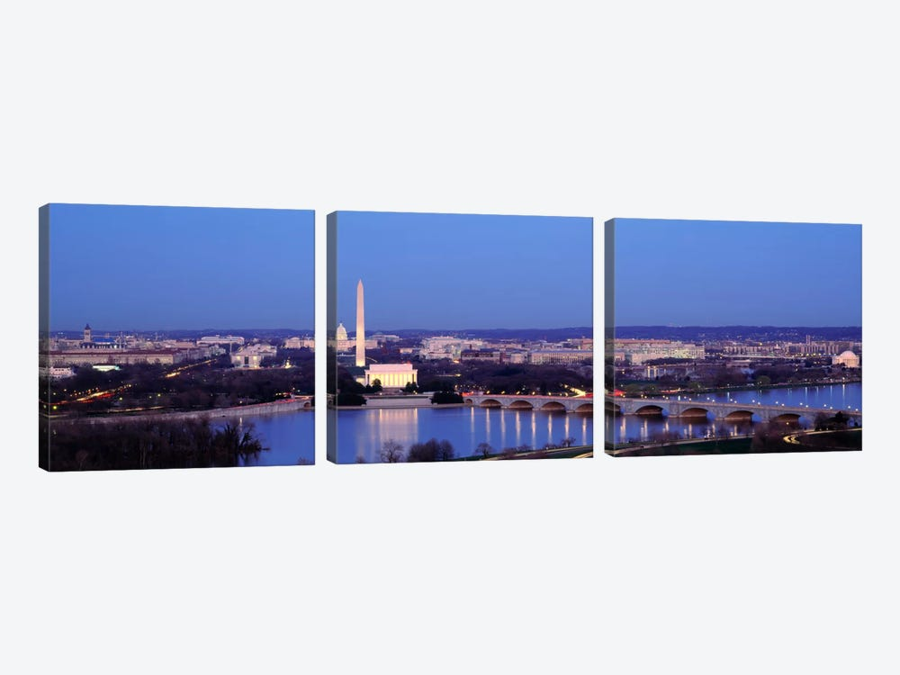 Bridge Over A RiverWashington Monument, Washington DC, District of Columbia, USA by Panoramic Images 3-piece Canvas Artwork