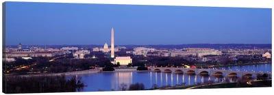 Bridge Over A RiverWashington Monument, Washington DC, District of Columbia, USA Canvas Art Print
