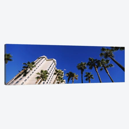 Low-Angle View Of Palm Trees & Fairmont Hotel, San Jose, Santa Clara County, California, USA Canvas Print #PIM6411} by Panoramic Images Canvas Art Print