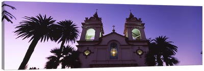 Low angle view of a cathedral lit up at night, Portuguese Cathedral, San Jose, Silicon Valley, Santa Clara County, California, U Canvas Art Print