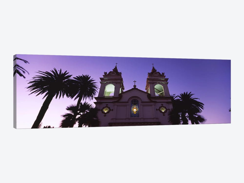 Low angle view of a cathedral lit up at night, Portuguese Cathedral, San Jose, Silicon Valley, Santa Clara County, California, U by Panoramic Images 1-piece Art Print