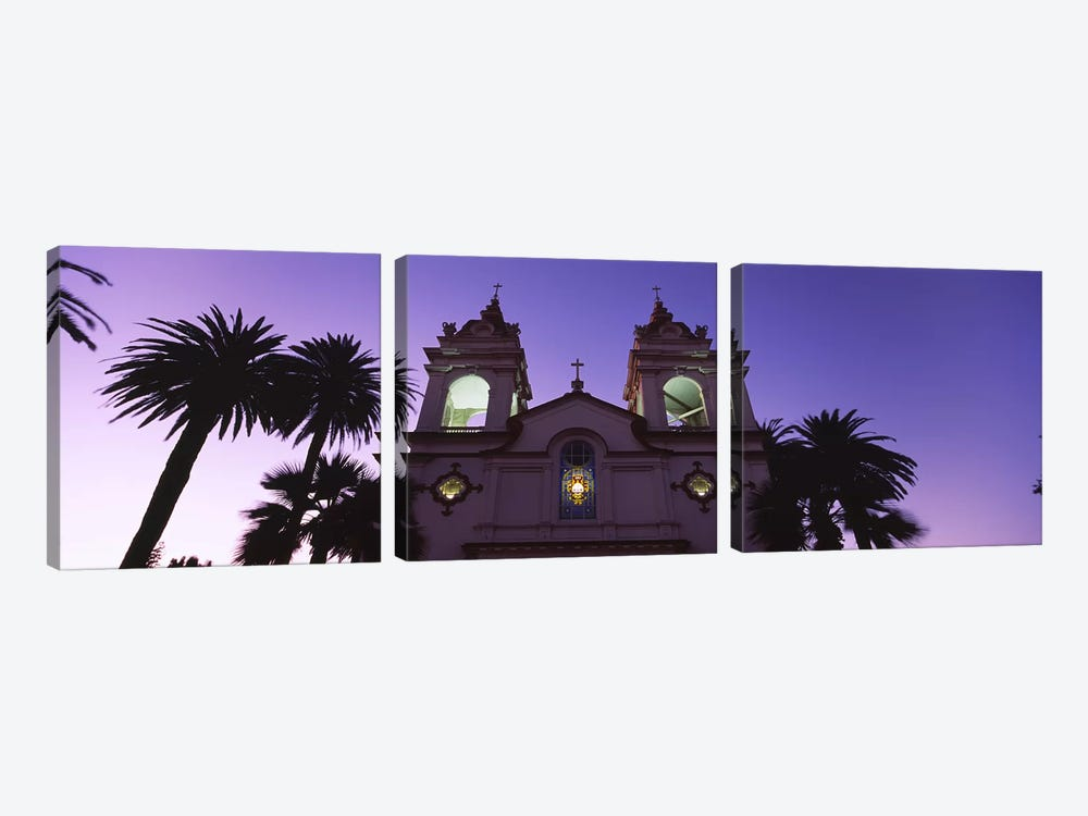 Low angle view of a cathedral lit up at night, Portuguese Cathedral, San Jose, Silicon Valley, Santa Clara County, California, U by Panoramic Images 3-piece Canvas Art Print