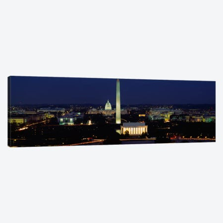Buildings Lit Up At NightWashington Monument, Washington DC, District of Columbia, USA Canvas Print #PIM641} by Panoramic Images Canvas Artwork