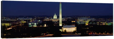 Buildings Lit Up At NightWashington Monument, Washington DC, District of Columbia, USA Canvas Art Print