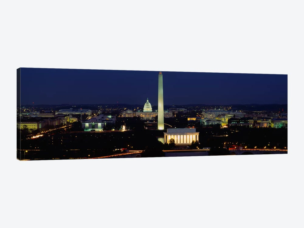 Buildings Lit Up At NightWashington Monument, Washington DC, District of Columbia, USA by Panoramic Images 1-piece Canvas Art Print