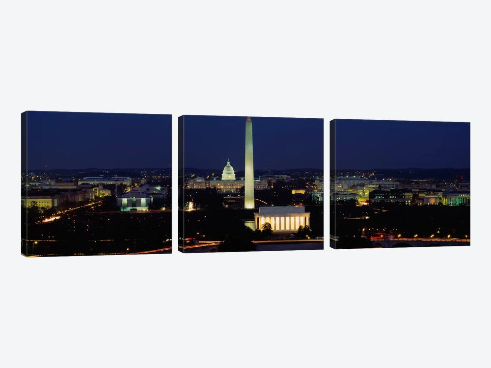 Buildings Lit Up At NightWashington Monument, Washington DC, District of Columbia, USA by Panoramic Images 3-piece Canvas Art Print