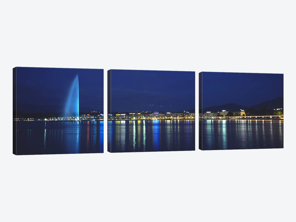 Jet d'Eau & Illuminated Buildings Along Quai Gustave-Ador, Geneva, Switzerland by Panoramic Images 3-piece Canvas Art Print