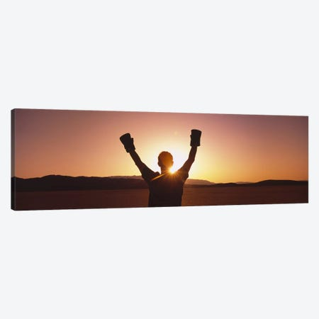 Silhouette of a person wearing boxing gloves in a desert at dusk, Black Rock Desert, Nevada, USA Canvas Print #PIM6428} by Panoramic Images Canvas Art
