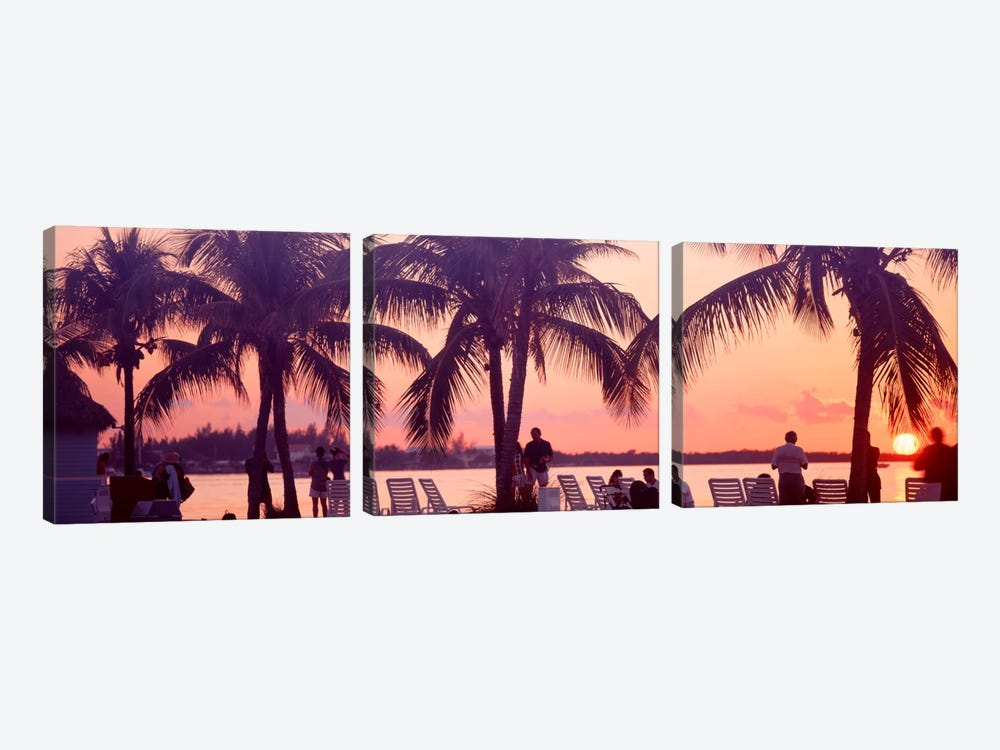 Sunset on the beach, Miami Beach, Florida, USA by Panoramic Images 3-piece Canvas Wall Art