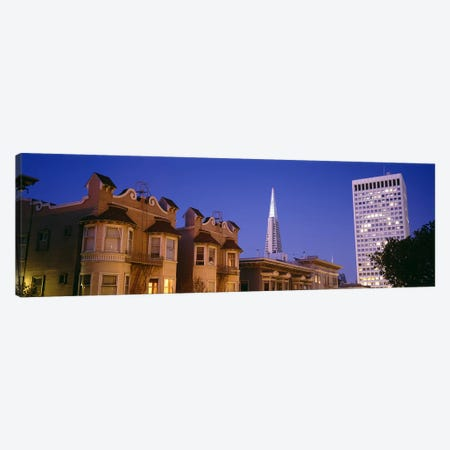Buildings lit up at dusk, Transamerica Pyramid, San Francisco, California, USA Canvas Print #PIM6431} by Panoramic Images Art Print