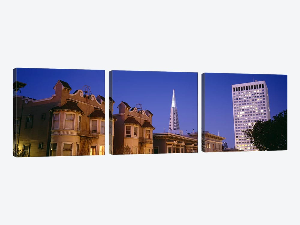 Buildings lit up at dusk, Transamerica Pyramid, San Francisco, California, USA by Panoramic Images 3-piece Canvas Print
