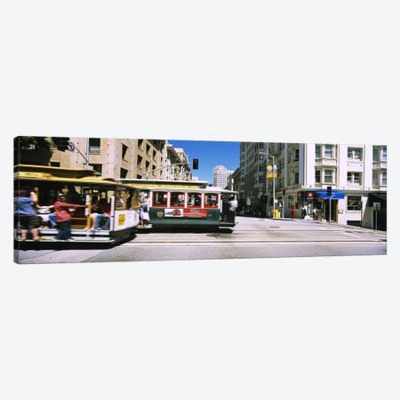 Two cable cars on a road, Downtown, San Francisco, California, USA Canvas Print #PIM6435} by Panoramic Images Canvas Artwork
