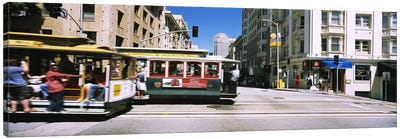 Two cable cars on a road, Downtown, San Francisco, California, USA Canvas Print #PIM6435