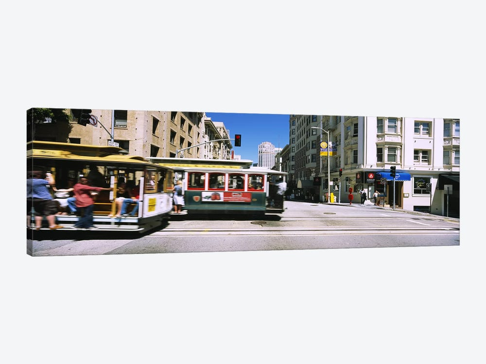 Two cable cars on a road, Downtown, San Francisco, California, USA by Panoramic Images 1-piece Art Print