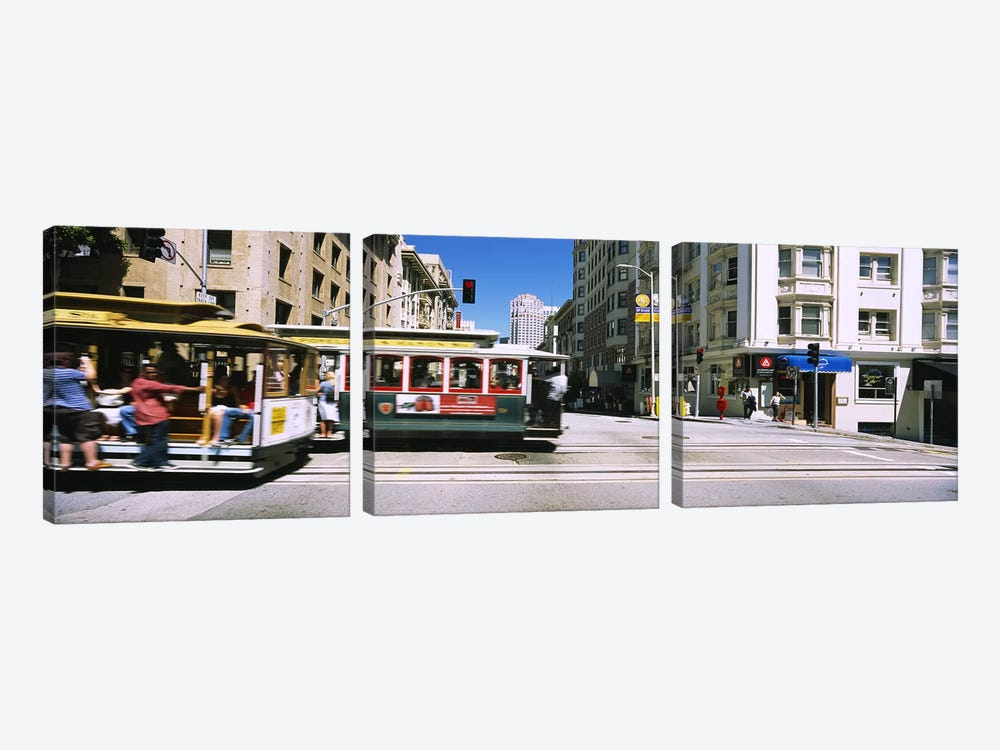 Two cable cars on a road, Downtown, San Francisco, California, USA by Panoramic Images 3-piece Canvas Print