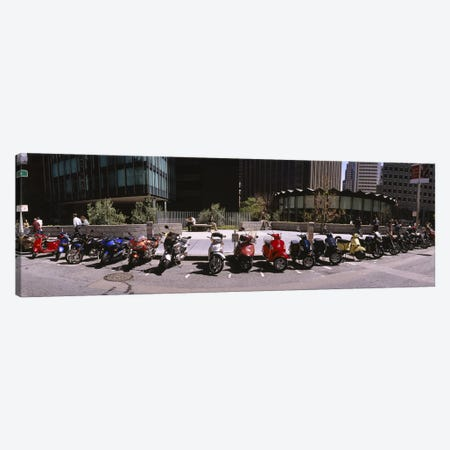 Scooters and motorcycles parked on a street, San Francisco, California, USA Canvas Print #PIM6436} by Panoramic Images Canvas Artwork