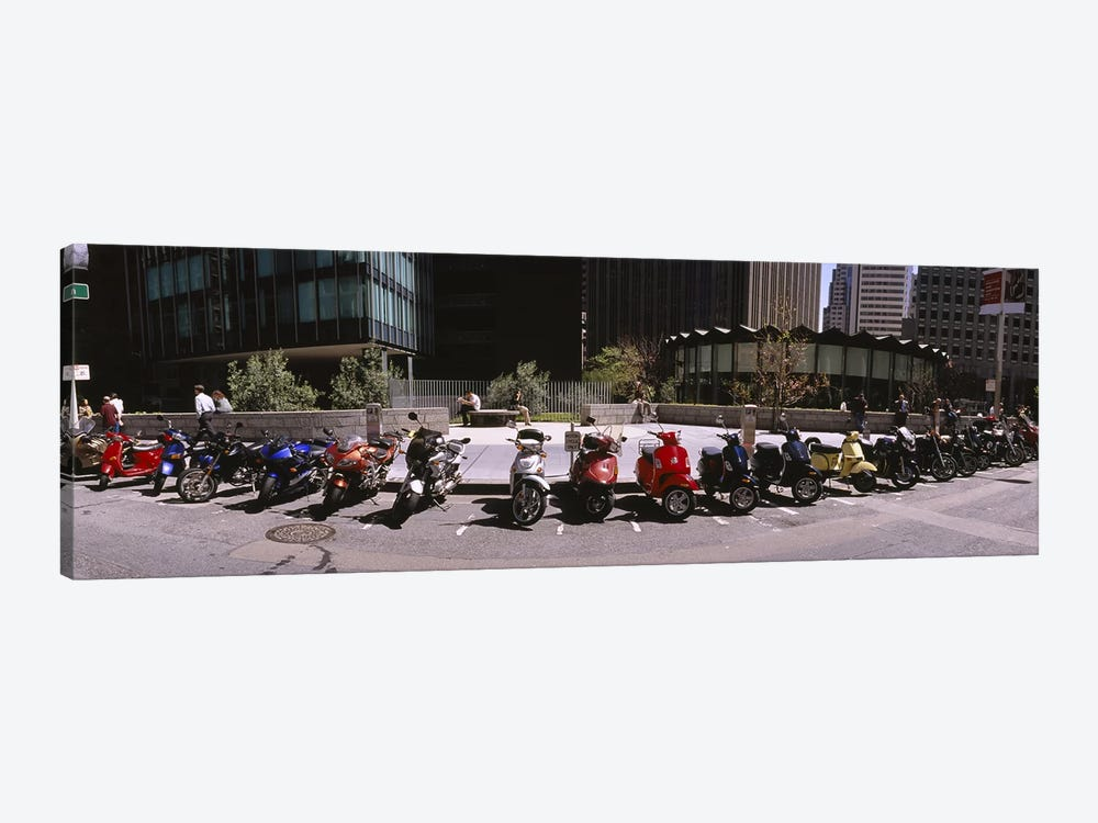 Scooters and motorcycles parked on a street, San Francisco, California, USA by Panoramic Images 1-piece Canvas Artwork