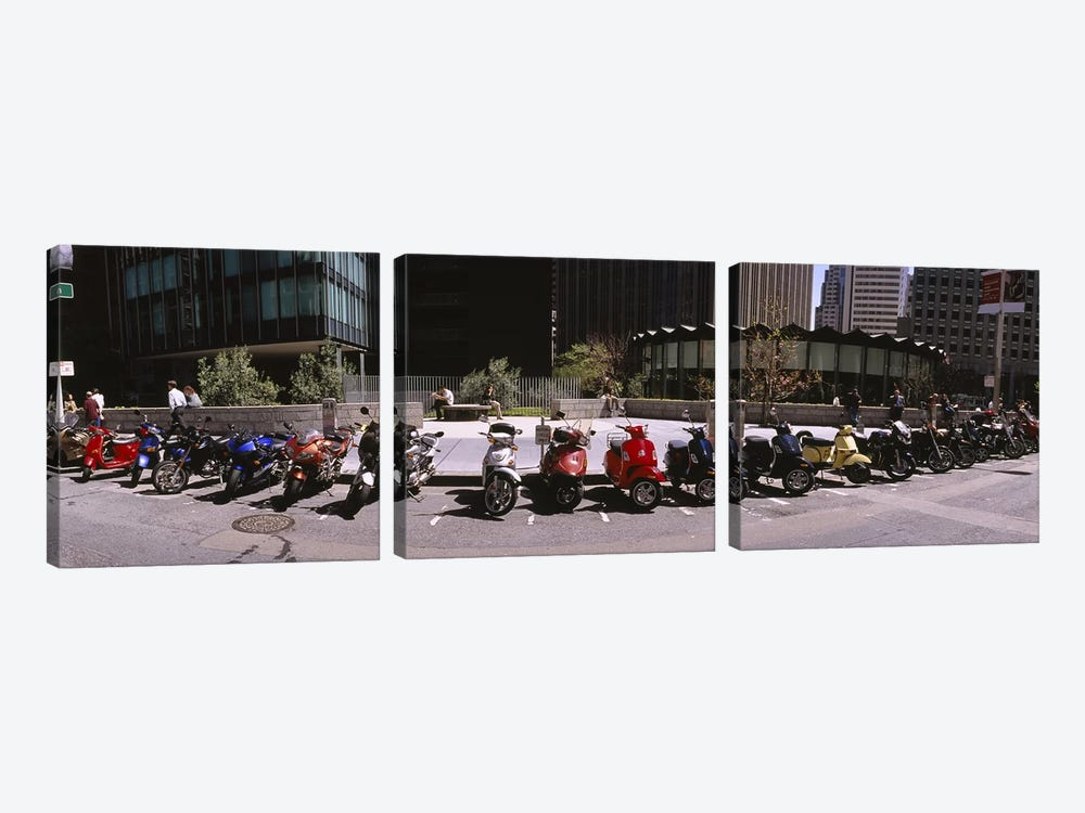 Scooters and motorcycles parked on a street, San Francisco, California, USA by Panoramic Images 3-piece Canvas Wall Art