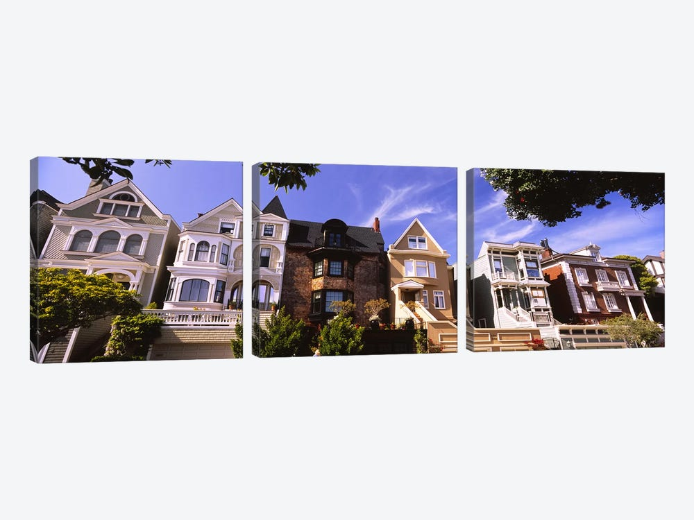 Low angle view of houses in a row, Presidio Heights, San Francisco, California, USA by Panoramic Images 3-piece Canvas Art Print