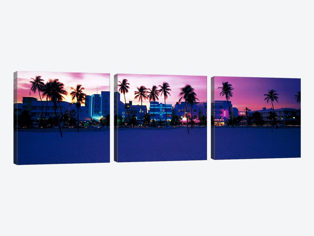 Ocean Drive Miami Beach FL USA by Panoramic Images 3-piece Canvas Art Print
