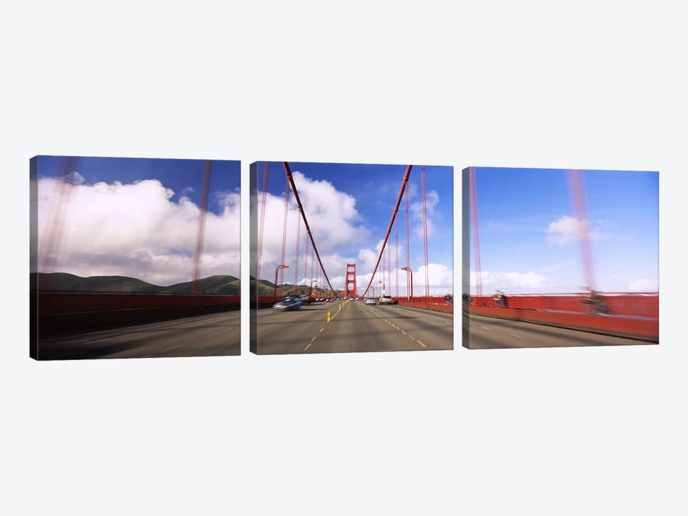 Cars on a bridge, Golden Gate Bridge, San Francisco, California, USA by Panoramic Images 3-piece Art Print