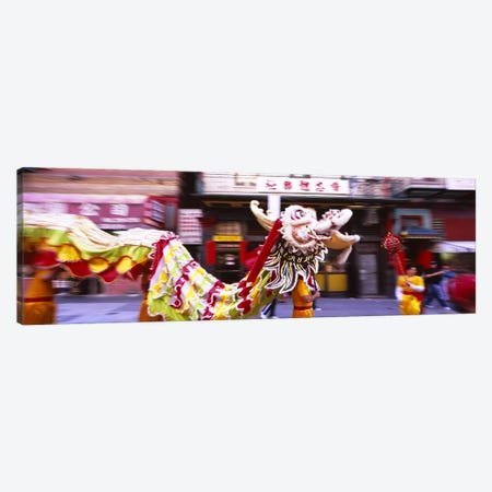 Group of people performing dragon dancing on a road, Chinatown, San Francisco, California, USA Canvas Print #PIM6441} by Panoramic Images Canvas Art