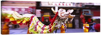 Group of people performing dragon dancing on a road, Chinatown, San Francisco, California, USA Canvas Print #PIM6441