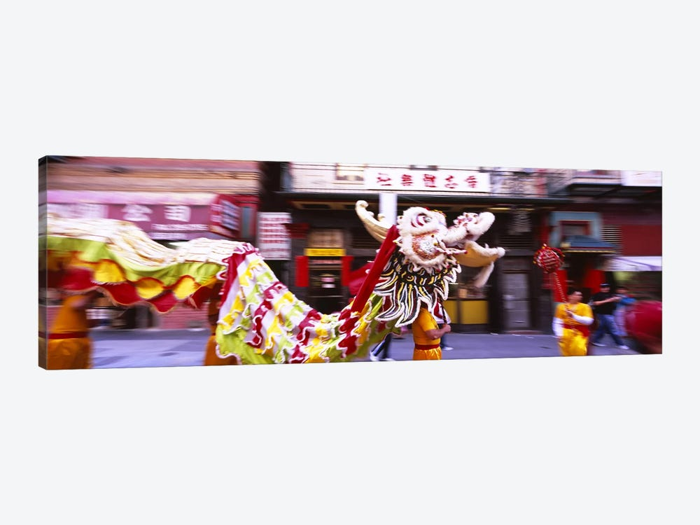 Group of people performing dragon dancing on a road, Chinatown, San Francisco, California, USA by Panoramic Images 1-piece Canvas Artwork