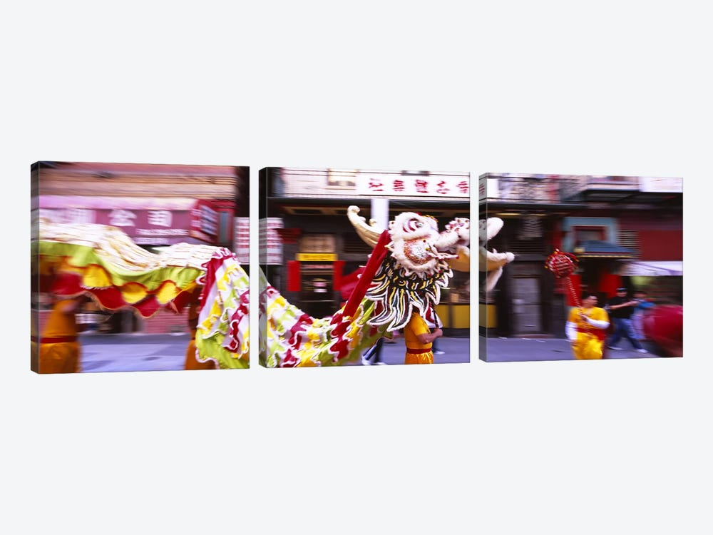 Group of people performing dragon dancing on a road, Chinatown, San Francisco, California, USA by Panoramic Images 3-piece Canvas Artwork