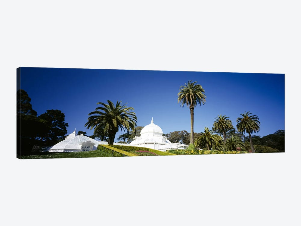 Low angle view of a building in a formal garden, Conservatory of Flowers, Golden Gate Park, San Francisco, California, USA by Panoramic Images 1-piece Canvas Artwork