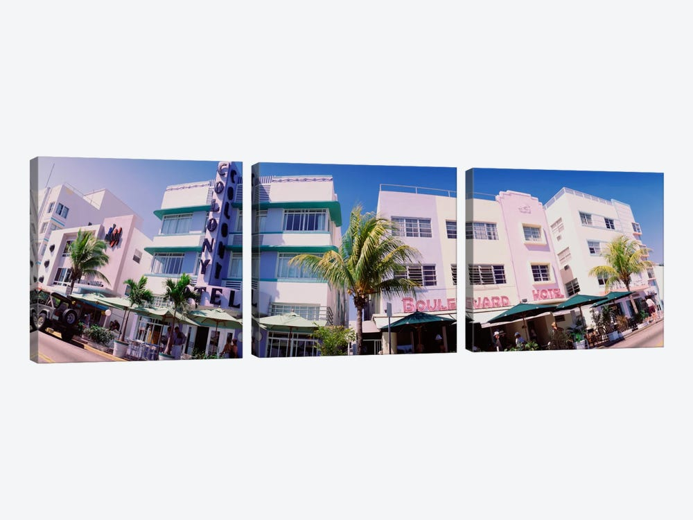 Low angle view of buildings in a city, Miami Beach, Florida, USA by Panoramic Images 3-piece Canvas Artwork