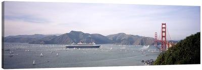 Cruise ship approaching a suspension bridge, RMS Queen Mary 2, Golden Gate Bridge, San Francisco, California, USA Canvas Art Print