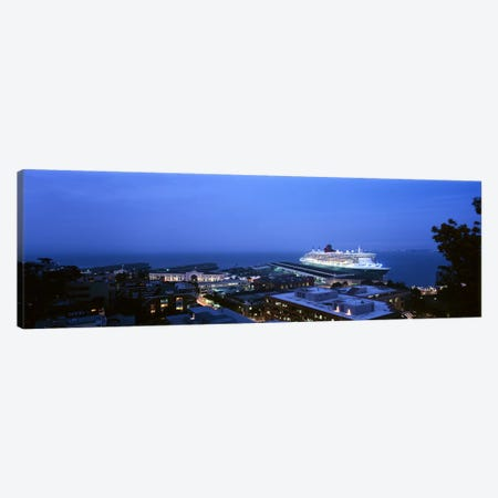 High angle view of a cruise ship at a harbor, RMS Queen Mary 2, San Francisco, California, USA Canvas Print #PIM6451} by Panoramic Images Canvas Print