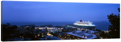 High angle view of a cruise ship at a harbor, RMS Queen Mary 2, San Francisco, California, USA Canvas Art Print