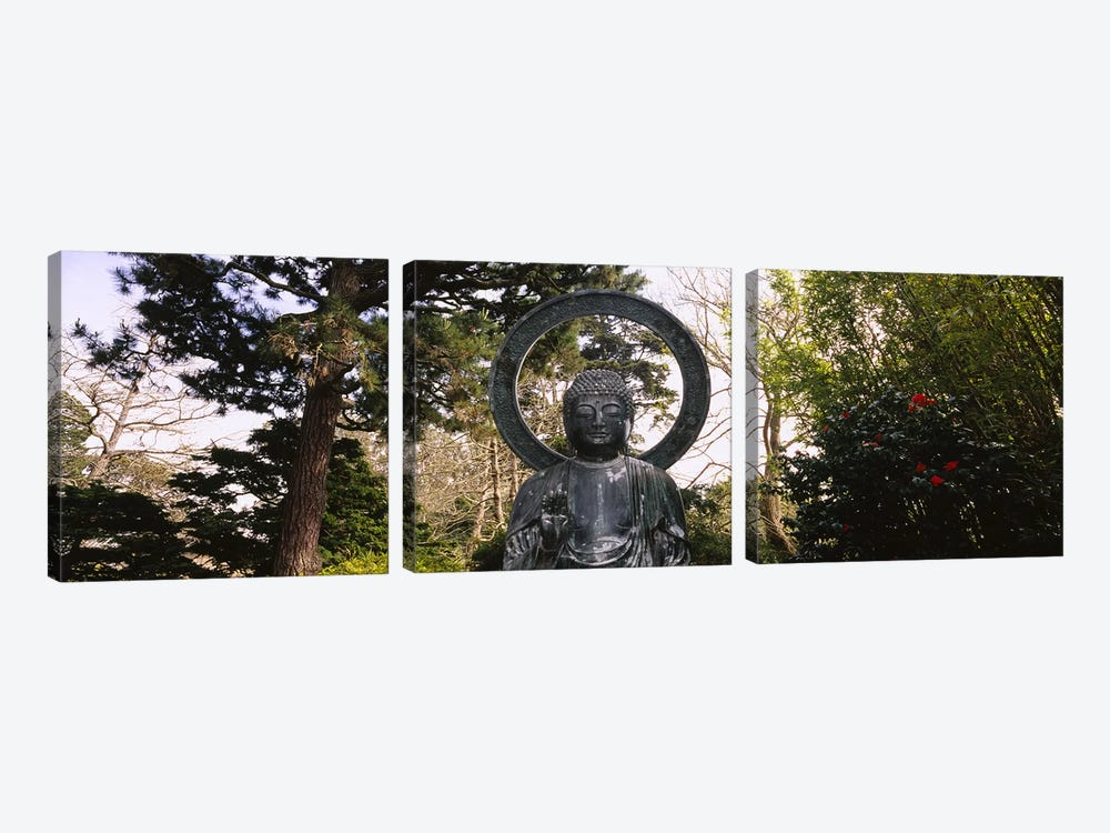 Statue of Buddha in a park, Japanese Tea Garden, Golden Gate Park, San Francisco, California, USA by Panoramic Images 3-piece Canvas Wall Art