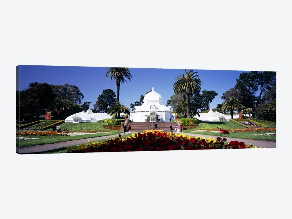 Tourists in a formal garden, Conservatory of Flowers, Golden Gate Park, San Francisco, California, USA by Panoramic Images 1-piece Canvas Wall Art
