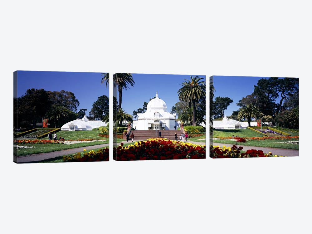 Tourists in a formal garden, Conservatory of Flowers, Golden Gate Park, San Francisco, California, USA by Panoramic Images 3-piece Canvas Art