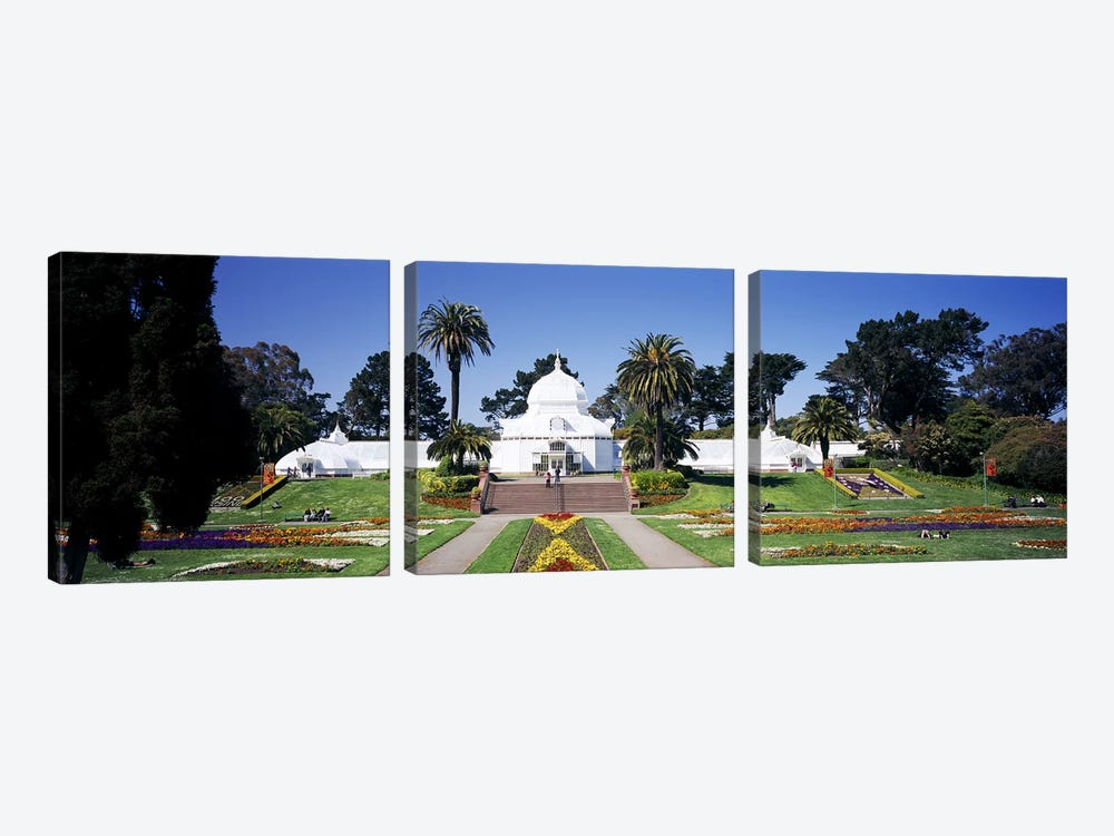 Facade of a building, Conservatory of Flowers, Golden Gate Park, San Francisco, California, USA by Panoramic Images 3-piece Canvas Print