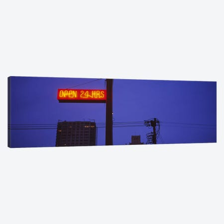 Low angle view of a neon sign, San Francisco, California, USA Canvas Print #PIM6465} by Panoramic Images Canvas Print